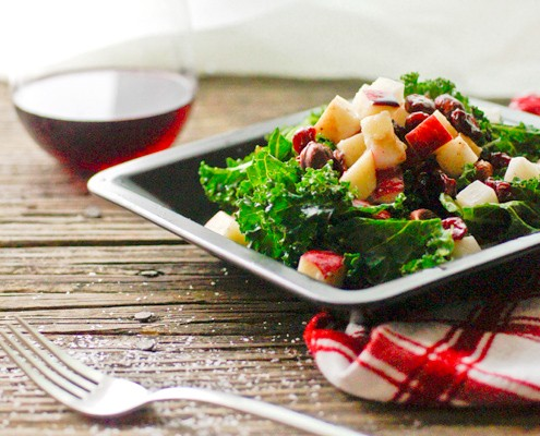 Raw Kale Salad with Honey Apple Vinaigrette