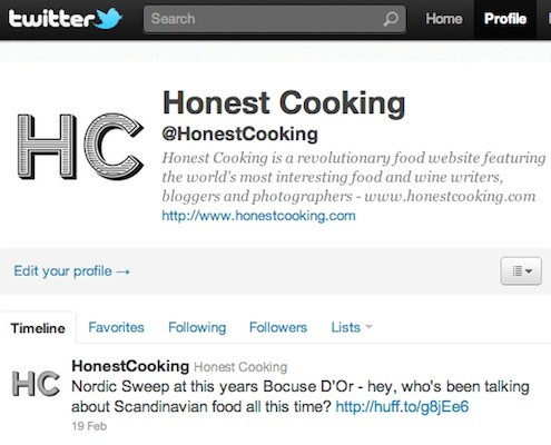 Honest Cooking On Twitter