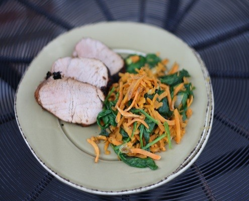 Chile Glazed Pork with Sweet Potato Hash