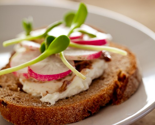 french radish and sunflower sprout tartines featured image