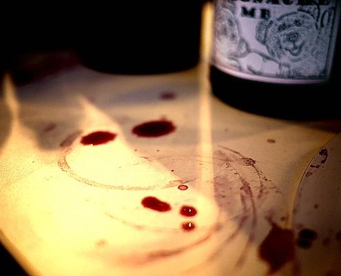 Rhône 1 - wine tasting is a messy affair