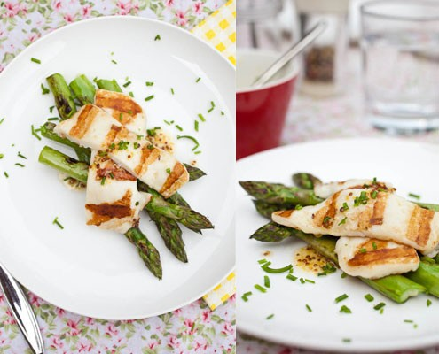 Grilled asparagus with haloumi