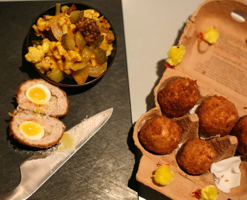 Scotch eggs and picalilli