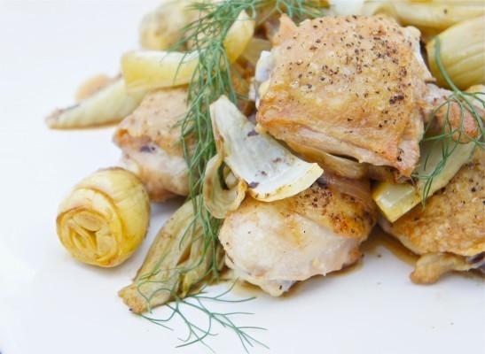 Chicken, Fennel, and Artichoke Fricassee