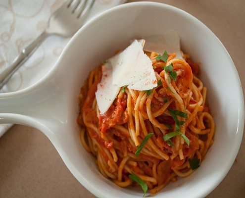 French Spaghetti with Anchovies and Piment d'Espellete