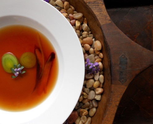 Crimini Mushroom and Plum Wine Consommé
