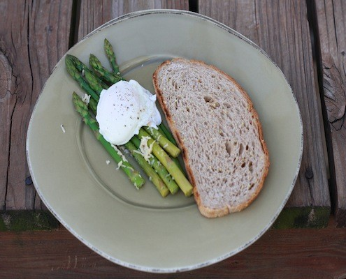 Parmesan Asparagus with Poached Eggs