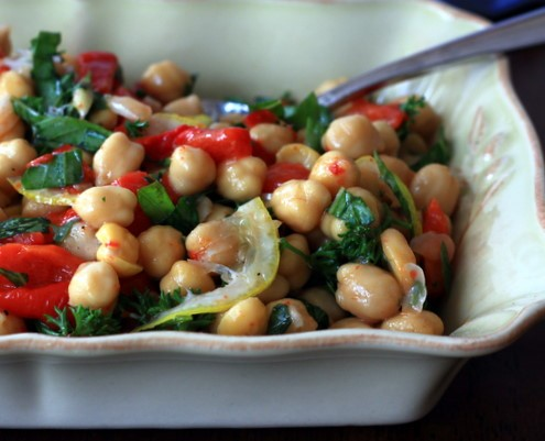 Lemon Chickpea Salad with Roasted Red Peppers