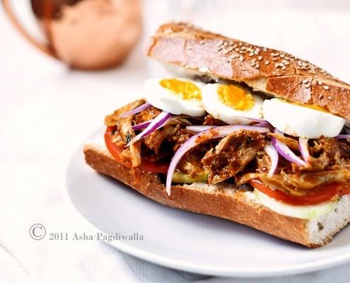 Fusion Pulled Tandoori Chicken Sandwich Recipe On Honest Cooking