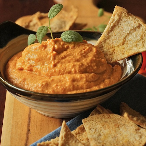 Roasted red pepper hummus with toasted pita chips honest for Roasted red peppers hummus