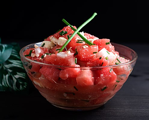 Watermelon Feta Salsa with Fresh Horseradish