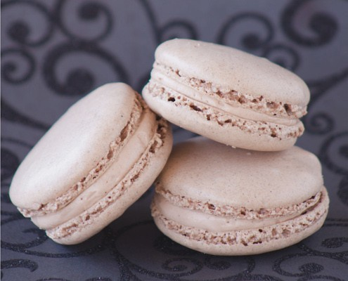 a trio of nut free macarons