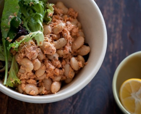 salmon & butter bean salad