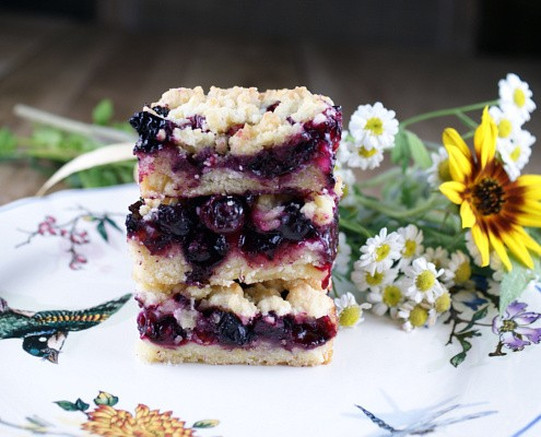 A Stack of Blueberry Tarragon Crumble Bars