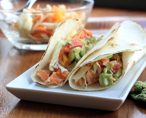 Salmon Tacos with Orange Cilantro Slaw