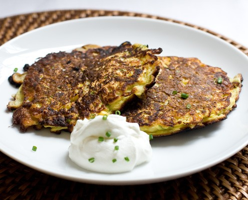 Zucchini Pancakes w/sour cream and chives