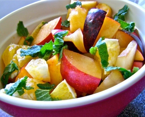 fresh fruit salad from sweltering summer days