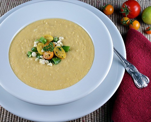 Fresh Corn Soup with a Raw Tomato and Sugar Snap Pea Salad