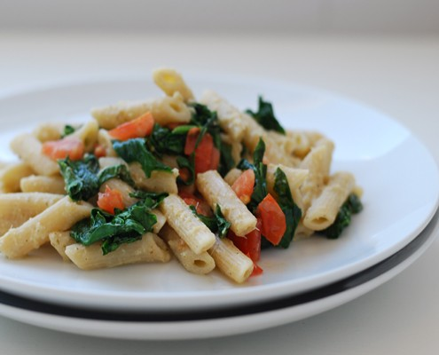 Pasta with Artichoke Sauce, Tomatoes and Spinach