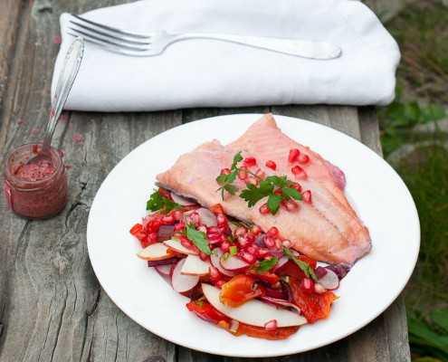 Pomegranate Infused Red Trout with All-Red Salad