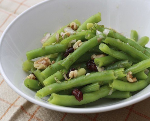 Green beans with toasted walnuts and dried cranberries