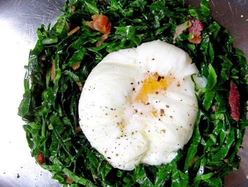 poached egg on collard greens with bacon