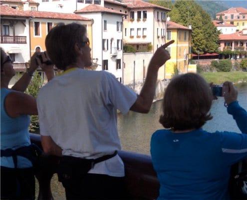 Admiring the view from Ponte degli Alpini