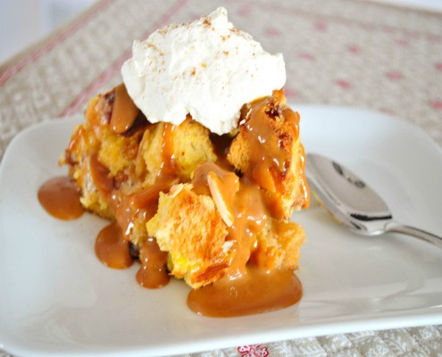 Panettone bread pudding with dulce de leche sauce and homemade whipped cream