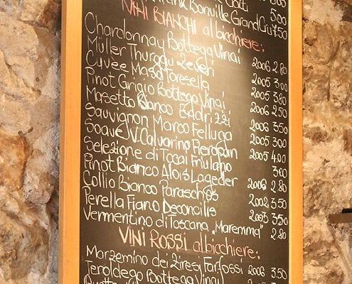 Wine list on chalkboard