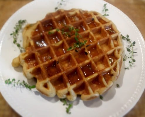 Cornmeal-Bacon Waffles With Thyme-Infused Maple Syrup Recipes ...