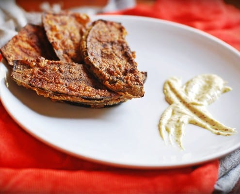 Pan-fried Aubergines with a Ginger-Mustard Mayo