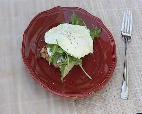Open Faced Sandwiches with Goat Cheese, Arugula, and a Fried Egg