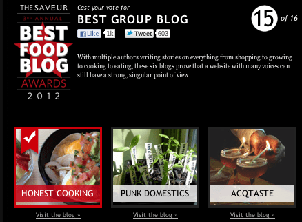 Honest Cooking Finalist in 2012 Saveur Best Food Blog Awards