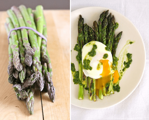 roasted asparagus with poached egg and arugula pistou