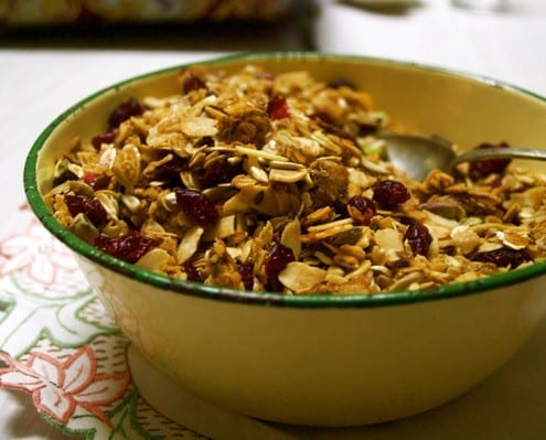 Cranberry, pistachio and cinnamon granola