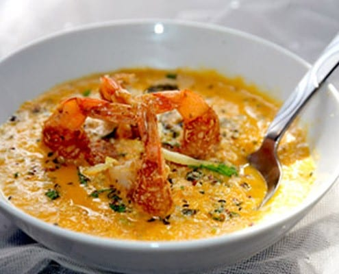 Carrot Coconut Soup with Coconut Encrusted Shrimp - Honest Cooking