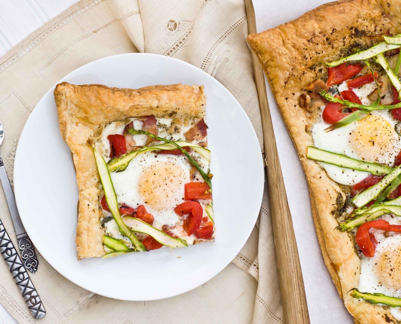 asparagus pesto breakfast tart recipe on honest cooking