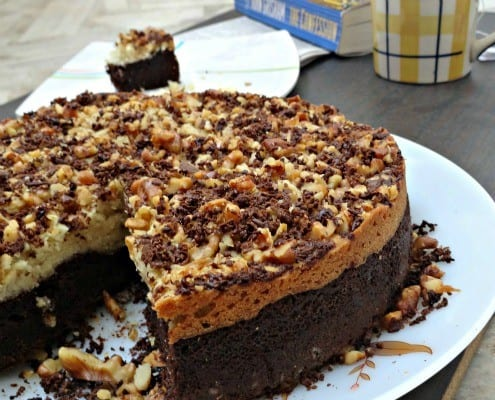 Eggless Chocolate Cake with Walnut Crust