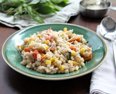 Summer Barley Risotto with Sweet Corn, Roasted Tomato, and Basil