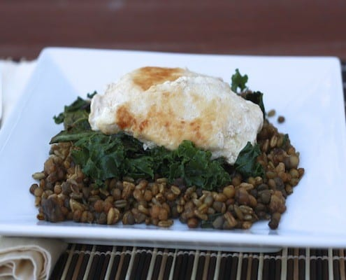 Chicken and Kale with Lentil-Freekeh Pilaf