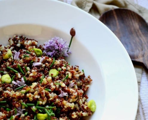 Red Quinoa and Jade Pear Rice with Brown Sage Butter and Fresh Chickpeas-1