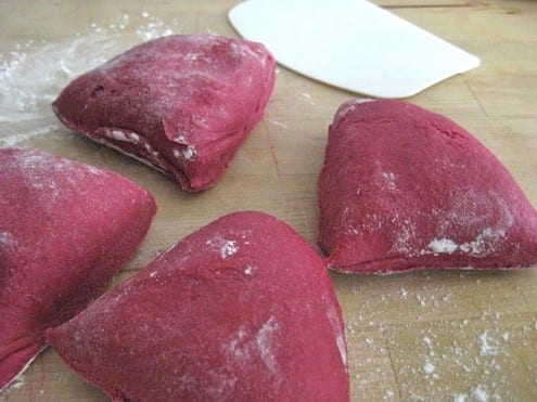 Fresh red beet pasta dough
