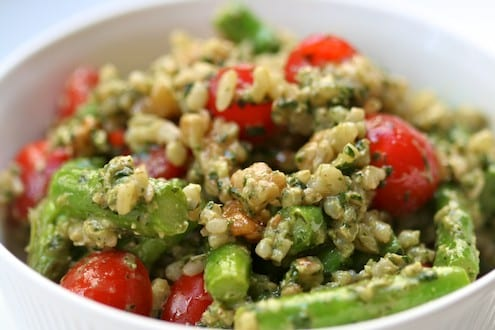Brown Rice Salad with Basil Walnut Pesto and Spring Vegetables