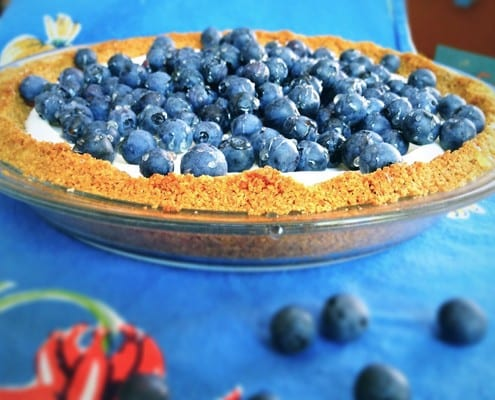 Greek Yogurt Icebox Pie with Coriander and Fresh Blueberries