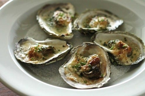 Baked Oysters with Chive Butter and Aïoli