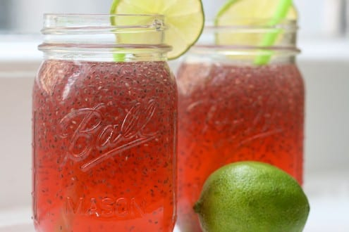 Raspberry Limeade with Chia Seeds