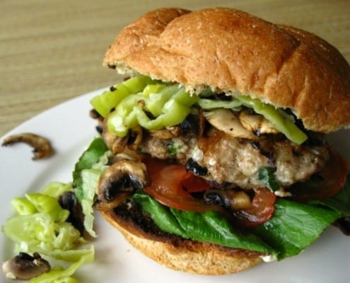 Greek inspired chicken burgers