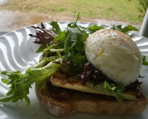 grilled haloumi with poached eggs and pomegranate and chilli jam