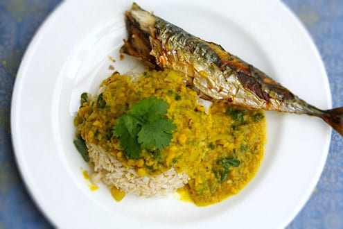 Grilled Mackerel Rasson Soup