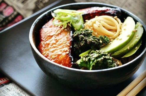 Udon Noodle Bowl with Miso-Honey Glazed Salmon, Avocado and Crispy ...